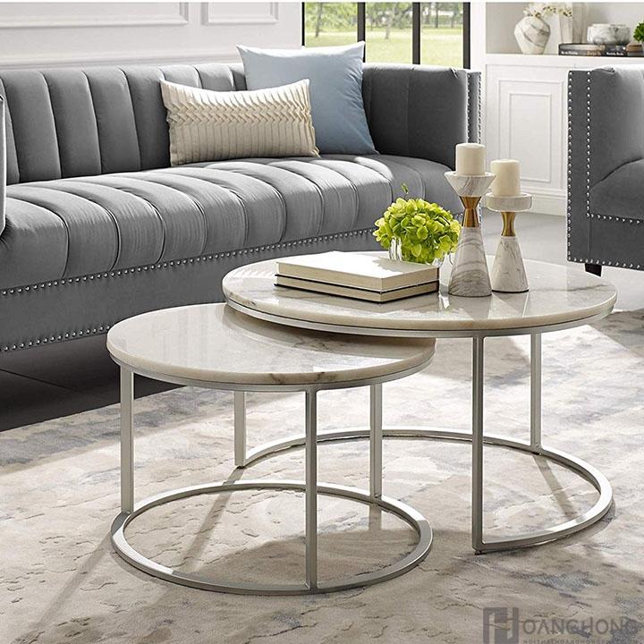 Bàn sofa mặt đá tròn nhập khẩu HHP-BSF606-08 - Trắng (Ảnh 3)