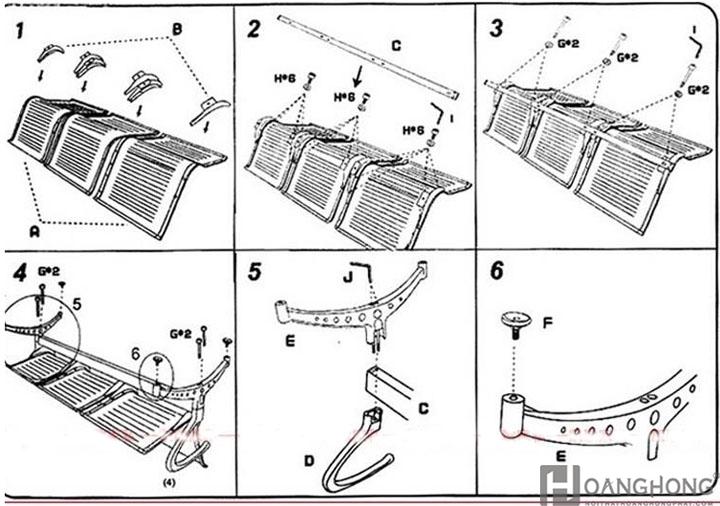 Hướng dẫn lắp ráp ghế băng chờ 3 chỗ